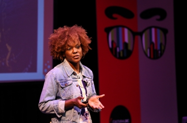Artist Nekeisha Durrett pitches at VISIONDC2017 Arts and Urban Innovation Summit in Washington, DC